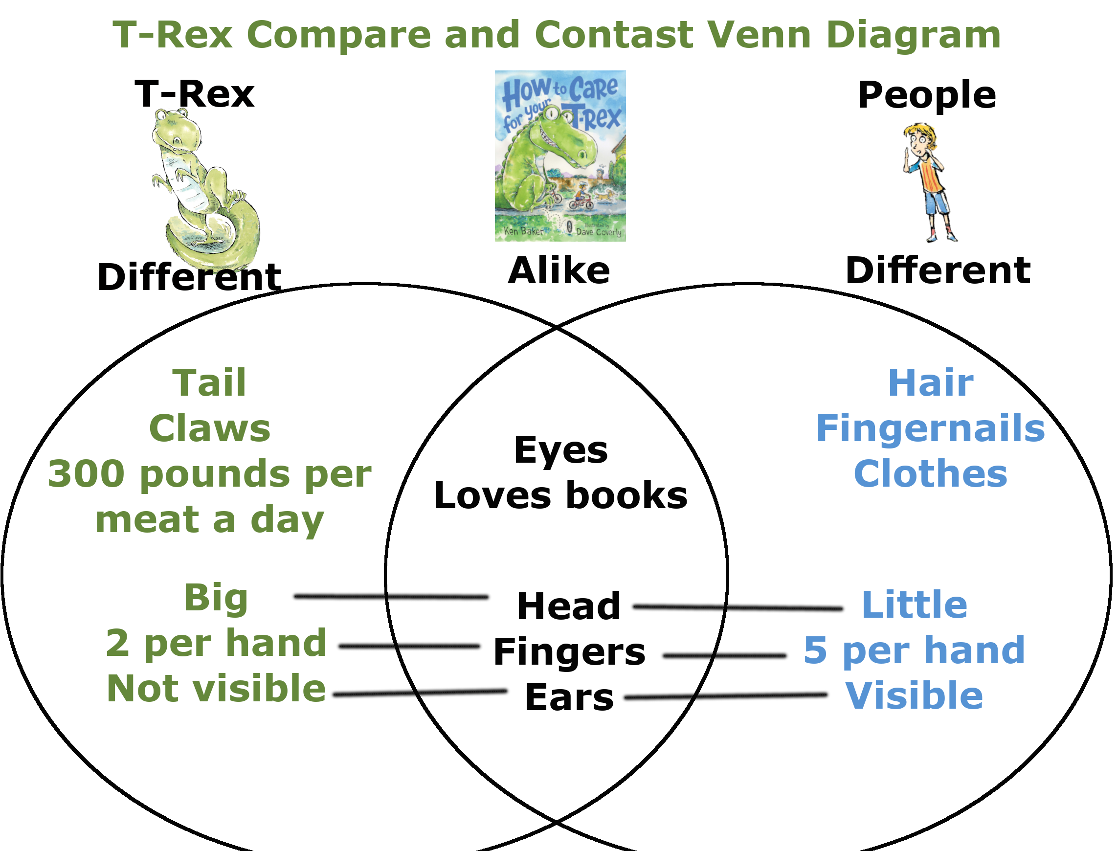 T-Rex Compares and contrasts lesson plan venn diagram
